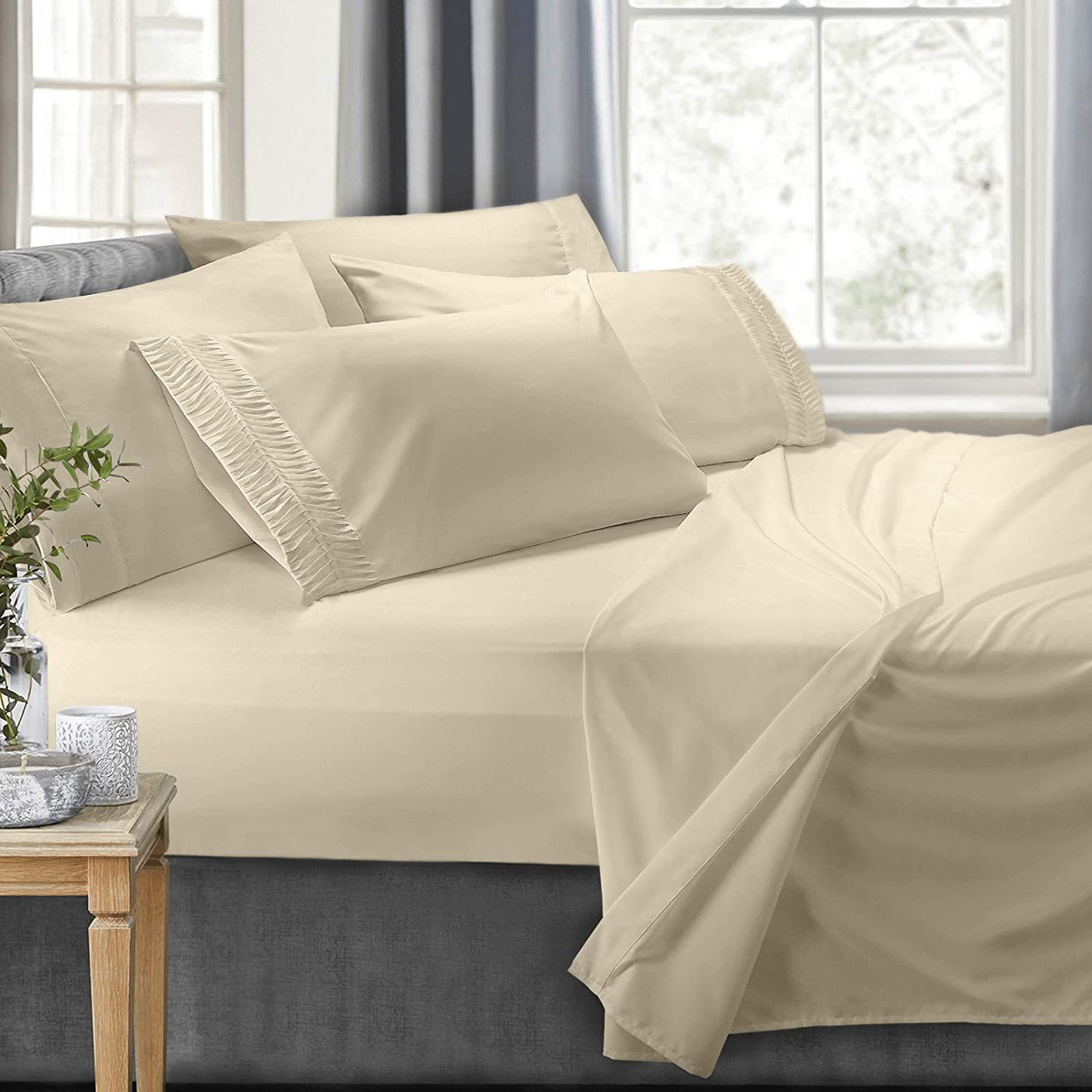 Clara Clark 6-Piece 100% Soft Brushed Microfiber Bedding Set Luxury Pleated Pillowcases, Cool & Breathable, 6 PC Sheets, Queen, Cream