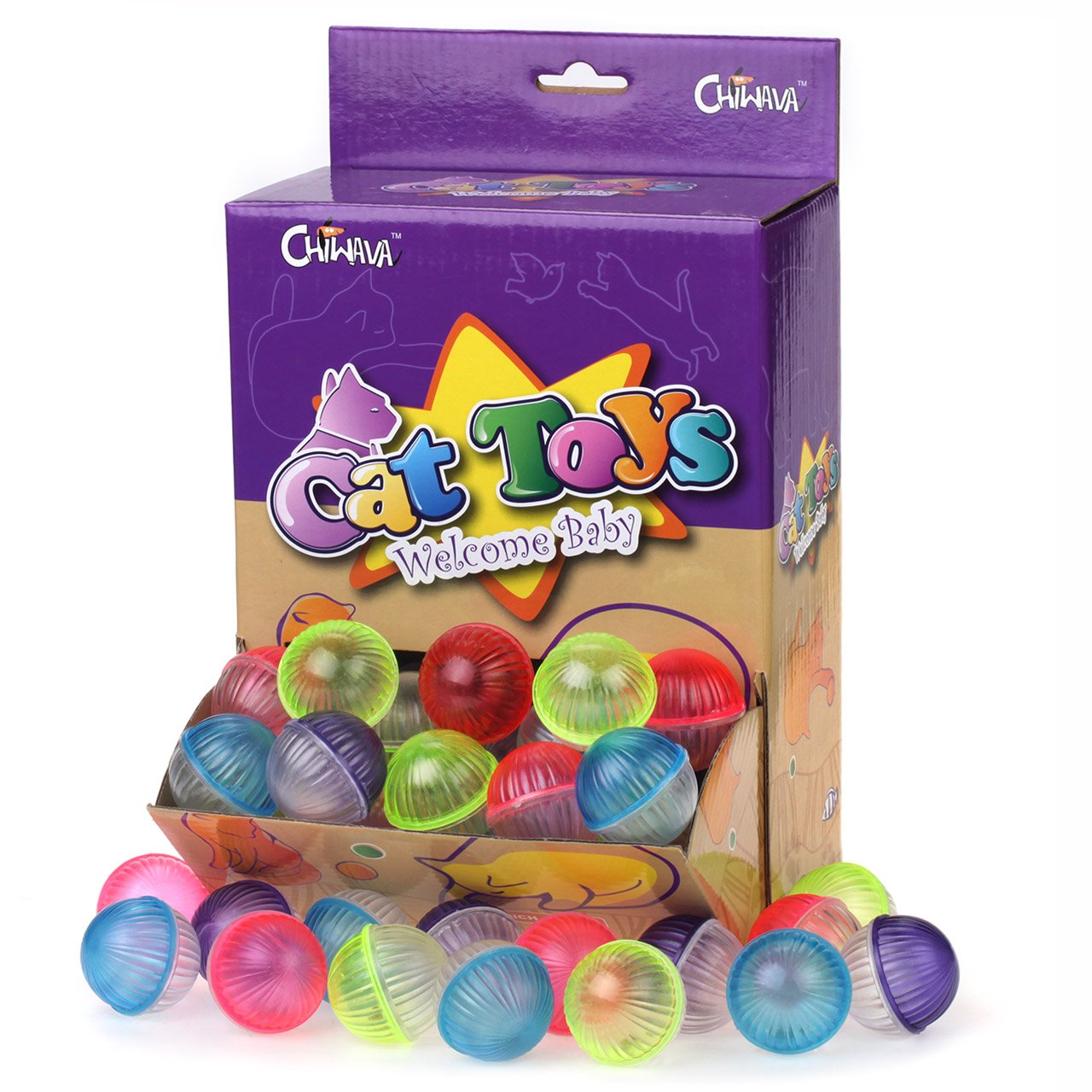 Chiwava 48PCS 1.6''-1.8'' Plastic Cat Kitten JINGLE BALLS Crazies Cat Toy with Jingling Bell Chase Toy Assorted Color