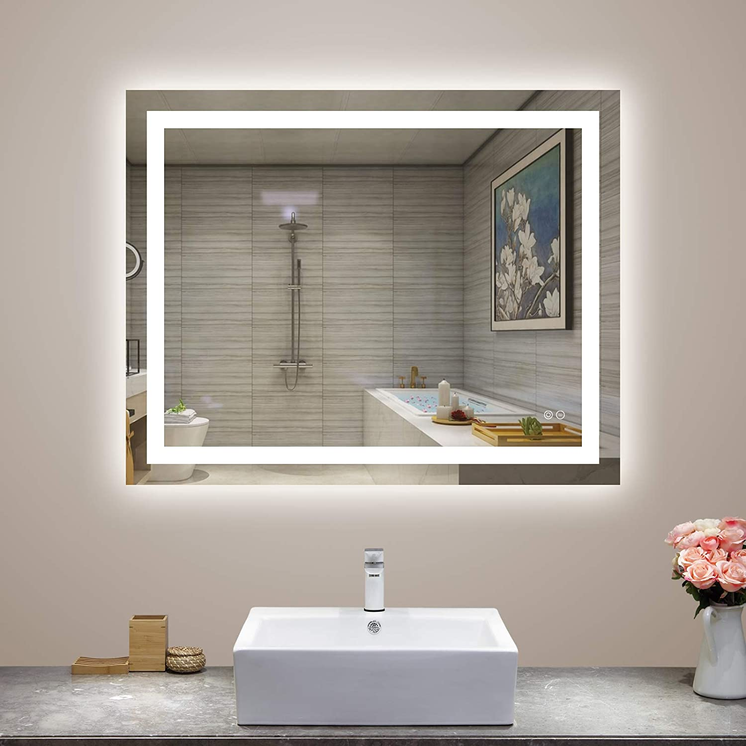 UM 28x36 inch LED Vanity Bathroom Mirror, Wall Mounted Bathroom Lighted Mirror, Dimmable Touch Switch Control, CRI>90, 6000K Warm White/Natural/Daylight Lights, Horizontal & Vertical(28Wx36H)