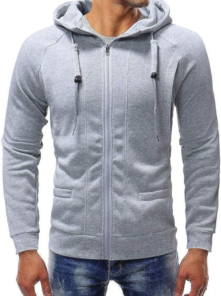 Emimarol Mens Sweatshirts Slim Fit Long Sleeve Lightweight Zip-up Hoodie with Pocket