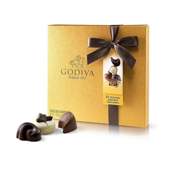 Godiva, Gold Rigid Box bombones pralines surtidos caja regalo 14 piezas, 165g: Amazon.es: Alimentación y bebidas