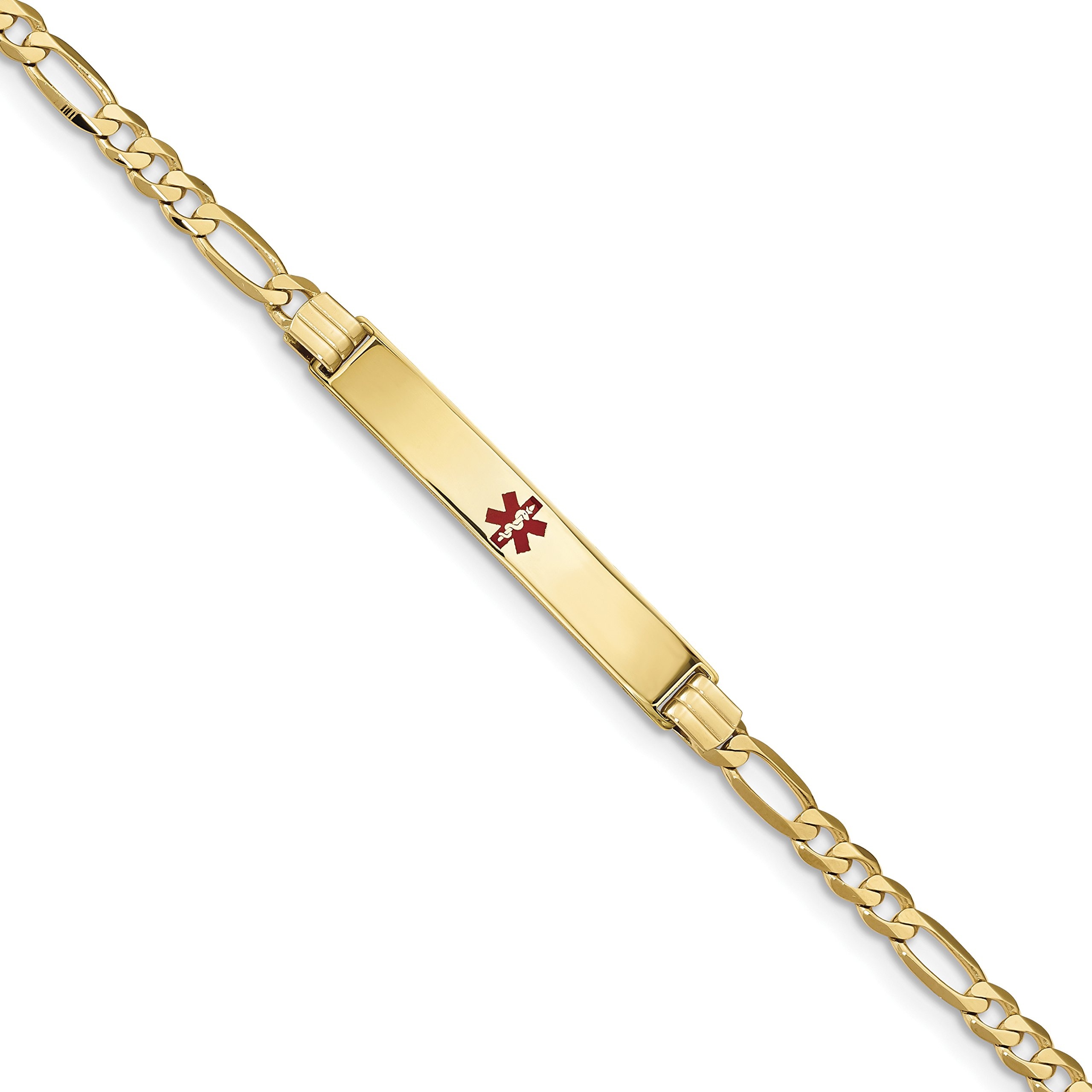 ICE CARATS 14k Yellow Gold Medical Red Enamel Link Figaro Id Bracelet 7 Inch Fine Jewelry Gift Set For Women Heart