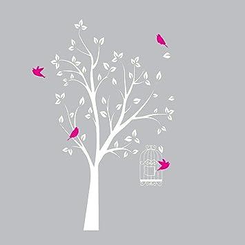 Arbre Blanc Sticker Mural Avec Rose Vif Oiseaux Et Cage à
