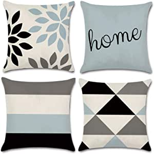 Jojusis Modern Geometric Throw Pillow Covers Linen Home Decor 18 X 18 Inch Set Of 4 Home Home Kitchen