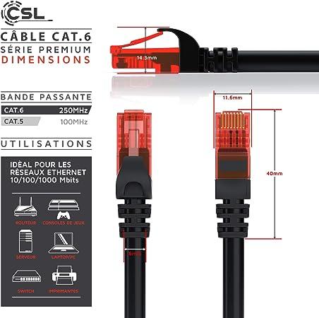 2X fiches RJ45 Noir Haute Vitesse 10 100 1000 Mo s UTP PC Switch Router Modem TV Box Consoles de Jeux Vid/éo 0,25m Cat.6 Ethernet C/âble Gigabit LAN R/éseau CSL