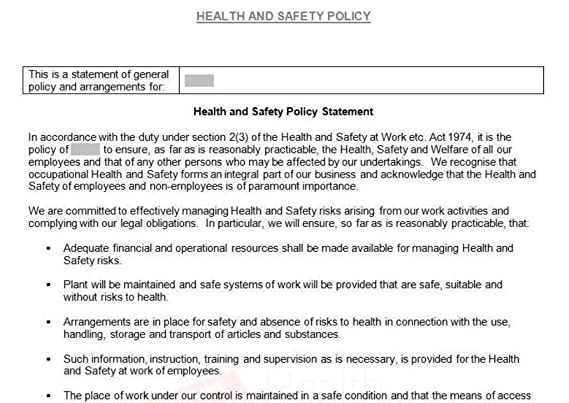 Health And Safety Policy And Specific Policy Sections AmazonCoUk