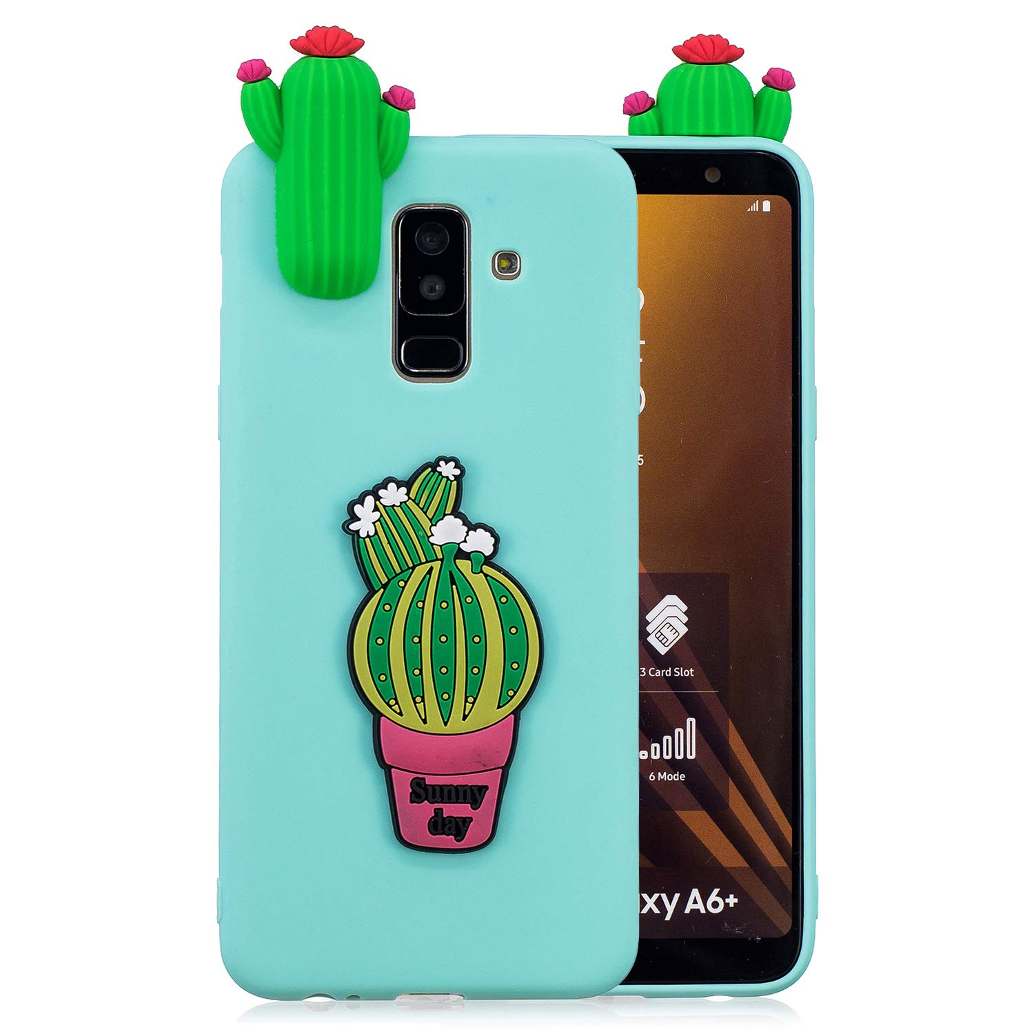 HopMore Coque Samsung Galaxy A6 Plus 2018 Silicone Souple 3D Design Motif Fruit Animal Drôle Mignonne Etui Samsung Galxy J8 2018 / Samsung A6+ Étui Antichoc Ultra Mince Fine Gel Bumper Slim Case Housse Protection pour Fille Femme - Fruit Noir