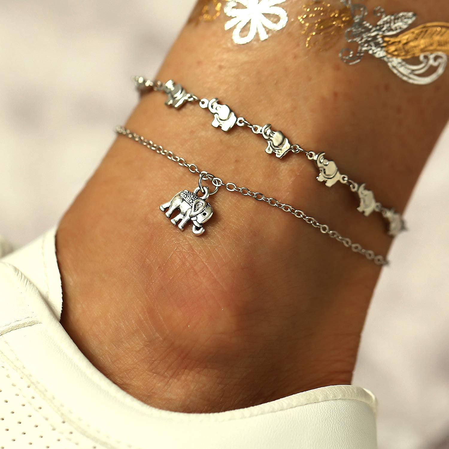 Tassel Elephants Charm Double-deck Chains Ankle 925 Sterling Silver Plated Women Girls Anklets Bracelet,Lobster clasp
