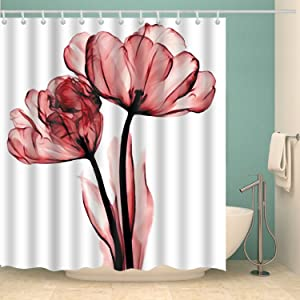 BROSHAN Flower Shower Curtain,White and Red Floral Modern Romantic Flower Nature Art Print Bath Curtain,Polyester Waterproof Fabric Bathroom Decor Set with Hooks,72x72 Inch, White Red