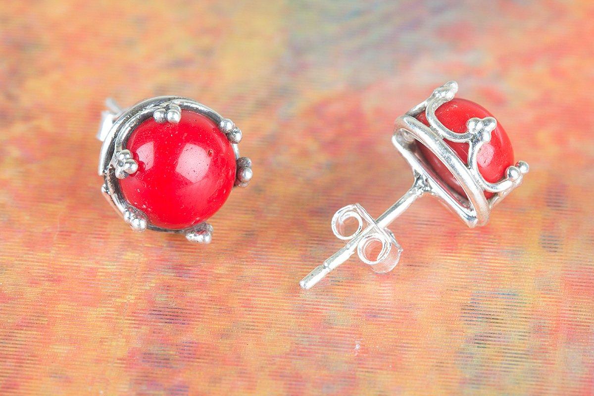 b9d44670c Coral Stud Earring, Handmade Stud Earring, Post Stud Earring, Red Stone  Stud Earring, Gypsy Stud Earring, Boho Stud Earring, Vintage Stud Earring,  ...