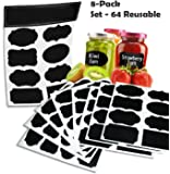64 Reusable Reusable (8 Sheet Pack) Premium Quality Black Decorative Adhesive Stickers-Pantry Storage Organizer, Mason Jar Chalk Labels, Gift Tags, Classroom Organization - Write Peel and Stick!