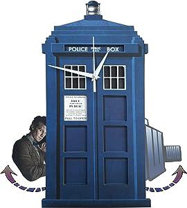 Goodtime Doctor Who Tardis Pendulum Wall Clock, Doctor Who Swinging, Doctor Who Clock, Whimsical Funny Wall Clocks, Tardis Clock, Gift for Lover of Doctor Who