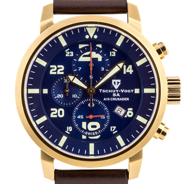 tschuy-vogt SA a15 Crusaderメンズスイスクロノグラフ腕時計 – ブラウン本革ストラップ、ブルーダイヤル、ローズゴールドケース B01M0VHMOM