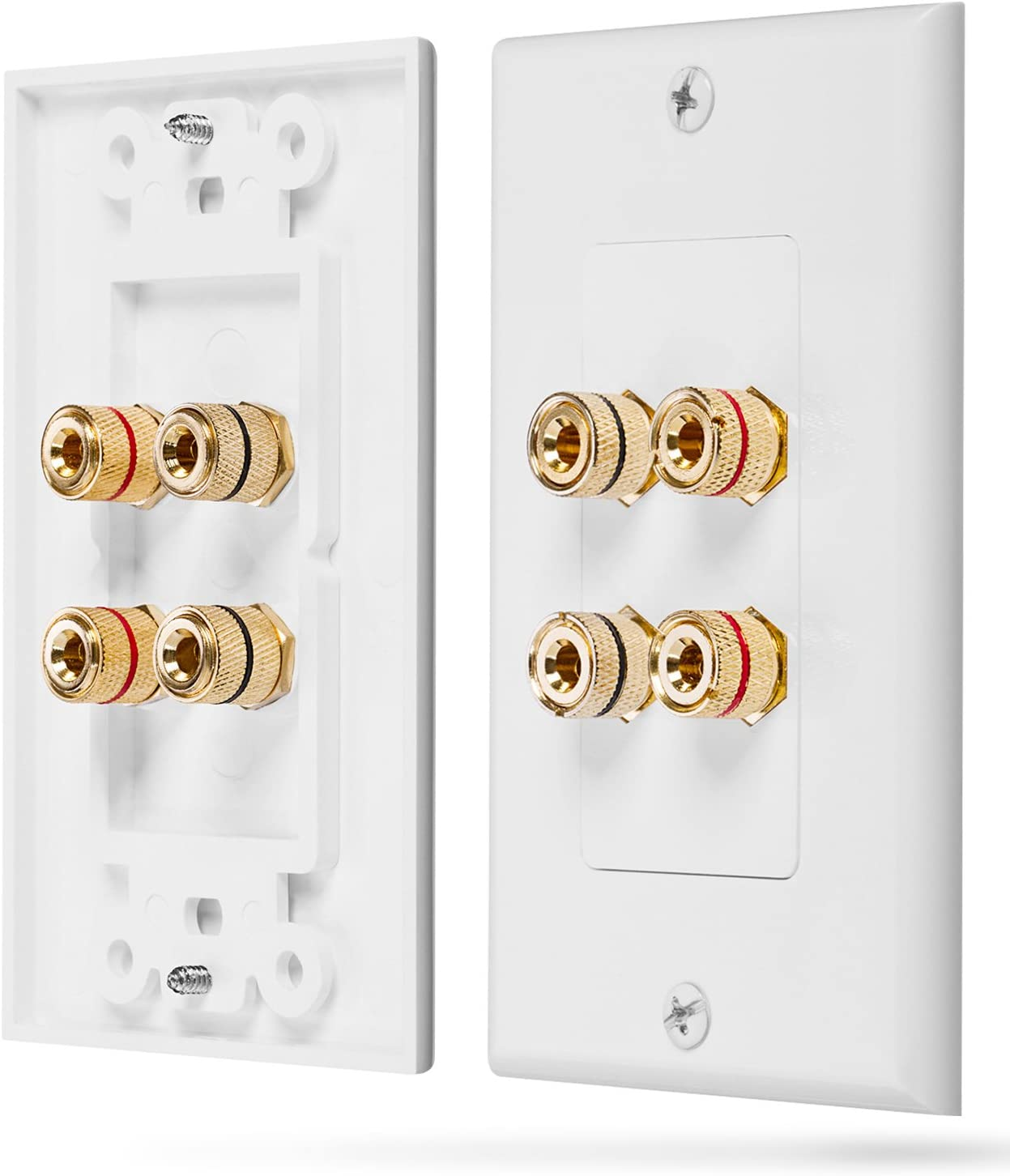 Fosmon Home Theater Wall Plate - Premium Quality Gold Plated Copper Banana Binding Post Coupler Type Wall Plate (White) (Two Speaker)