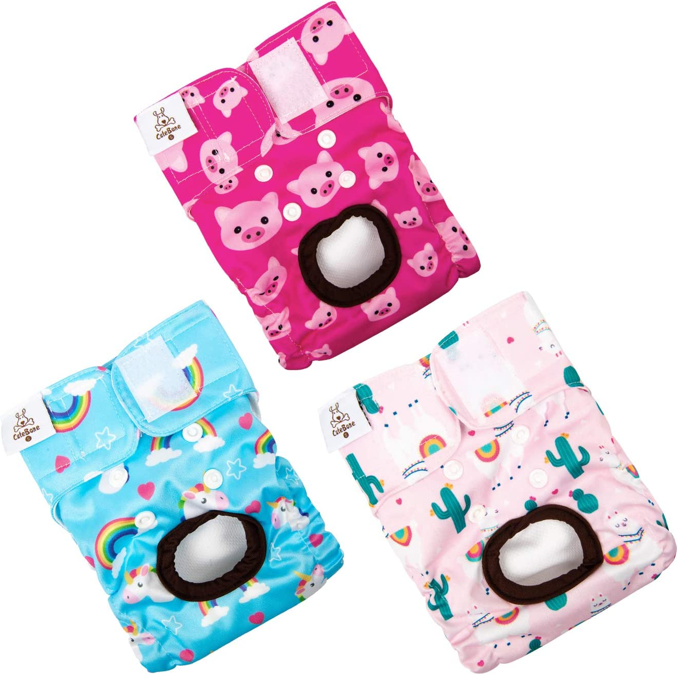 CuteBone Dog Diapers Reusable 3 Pack for Doggie in Heat