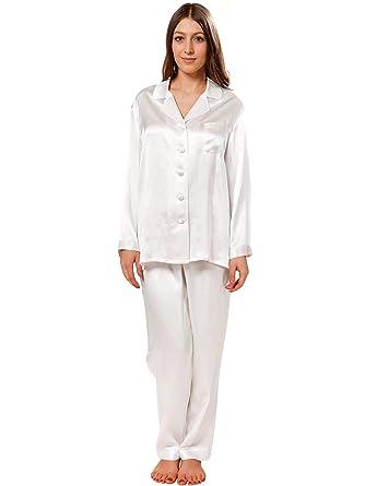 a01a38ee3e ElleSilk Women s 100% Silk Pyjama Set