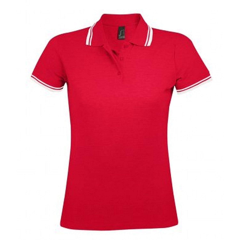 SOLS Womens//Ladies Pasadena Tipped Short Sleeve Pique Polo Shirt