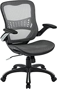 Office Star Mesh Back & Seat, 2-to-1 Synchro & Lumbar Support Managers Chair, Grey