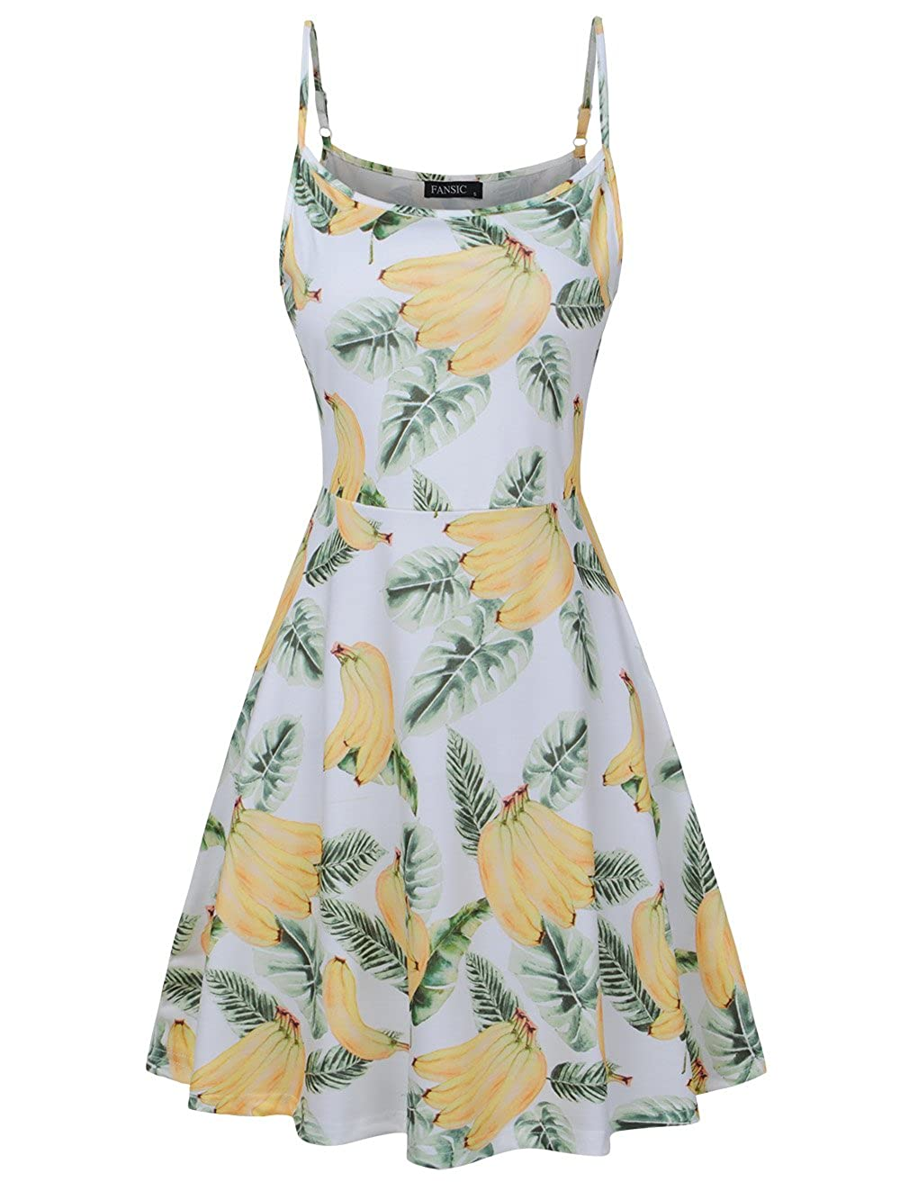 White and Yellow 261 FANSIC Womens Sleeveless Floral Printed Swing Sundress Spaghetti Strap Dresses