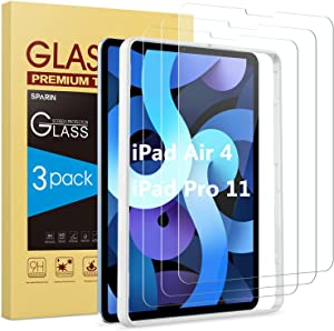 SPARIN [3 Pack] Screen Protector for iPad Air 4 2020 / iPad Pro 11 2020, Tempered Glass for iPad Air 4th Generation 10.9 inch with Alignment Frame