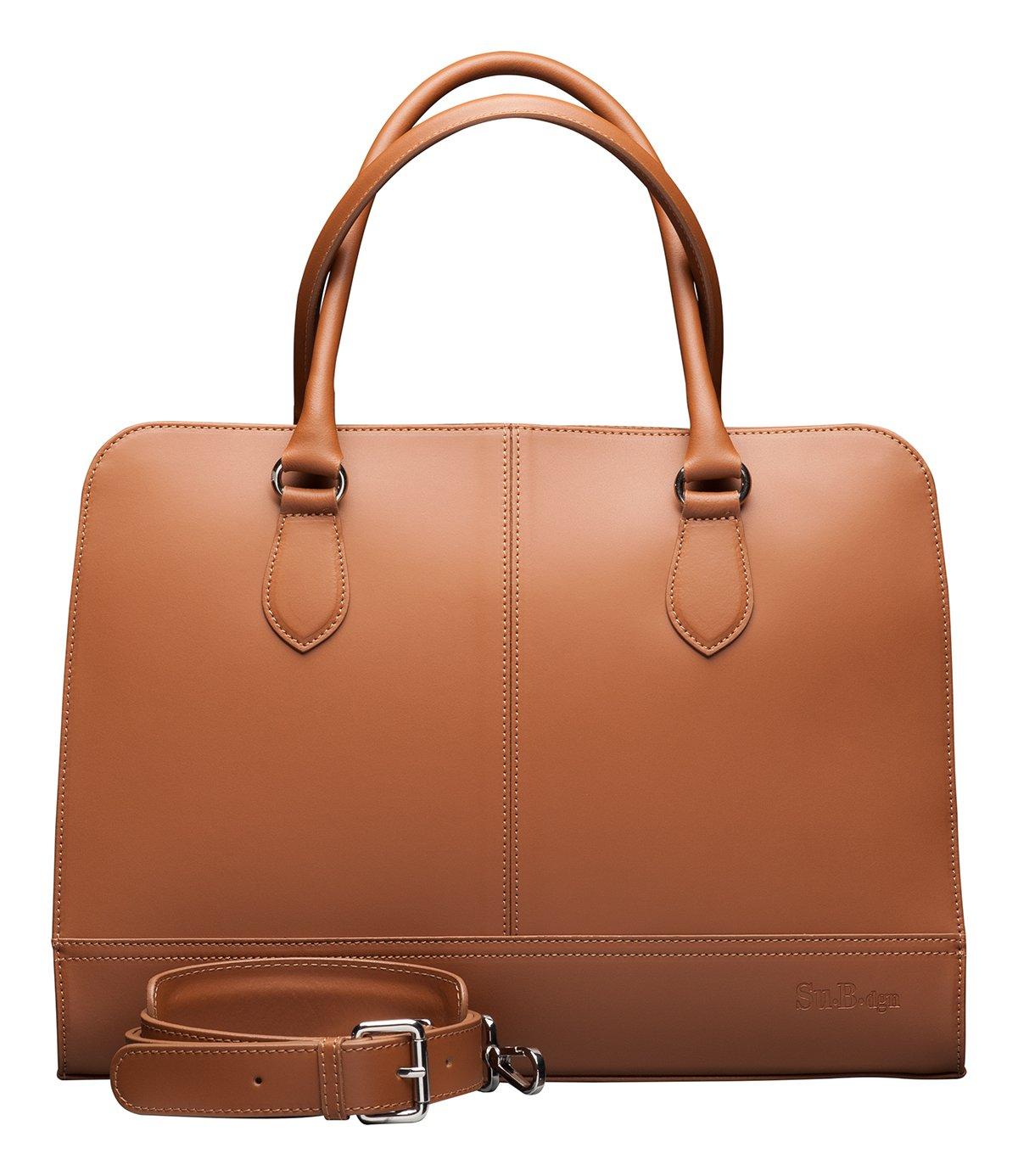 Su.B.dgn Designer 15.6 Inch Laptop Handbag Messenger Bag for Women | Genuine Italian Leather | Professional, Vertical Shoulder Tote | Computer, PC, Notebook, MacBook | Brown