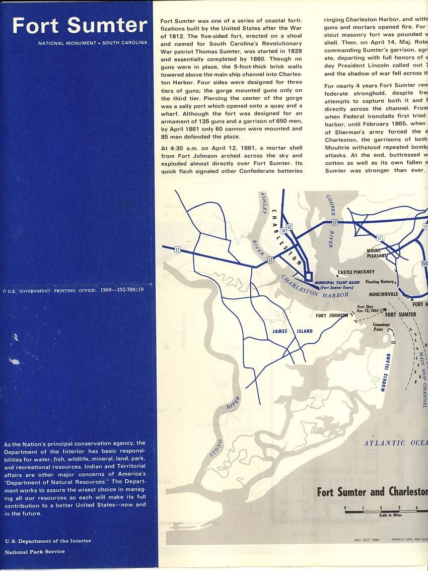 Fort Sumter On Us Map.Fort Sumter National Military Park South Carolina 1969 National