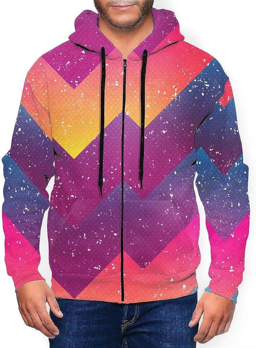 Lucaeat Bright Geometric Pattern Mens Big Zip Front Sweatshirt Hoodie