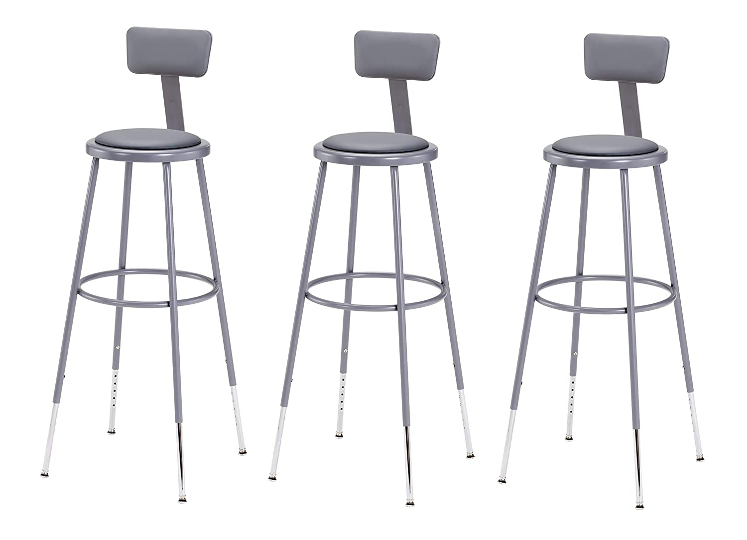 National Public Seating -CN Steel Stool with Vinyl Upholstered Seat Adjustable and Backrest, 31 -39 , Grey Pack of 3