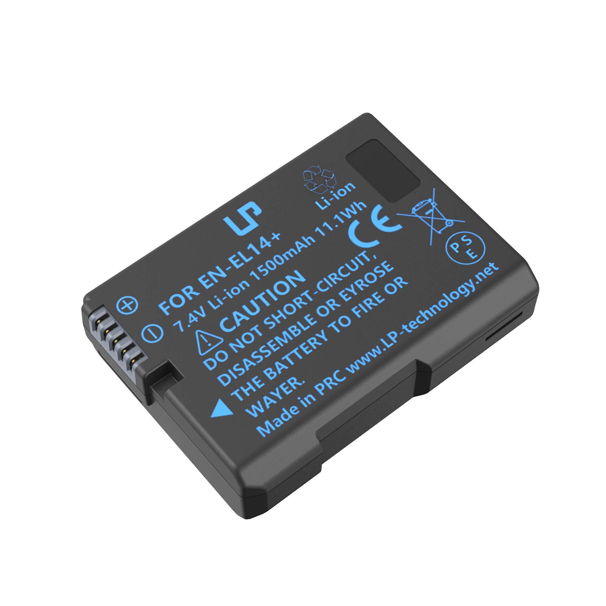 LP EN-EL14 EN EL14a Battery, Compatible with Nikon D3100, D3200, D3300, D3400, D3500, D5100, D5200, D5300, D5500, D5600, DF, P7000, P7700 & More