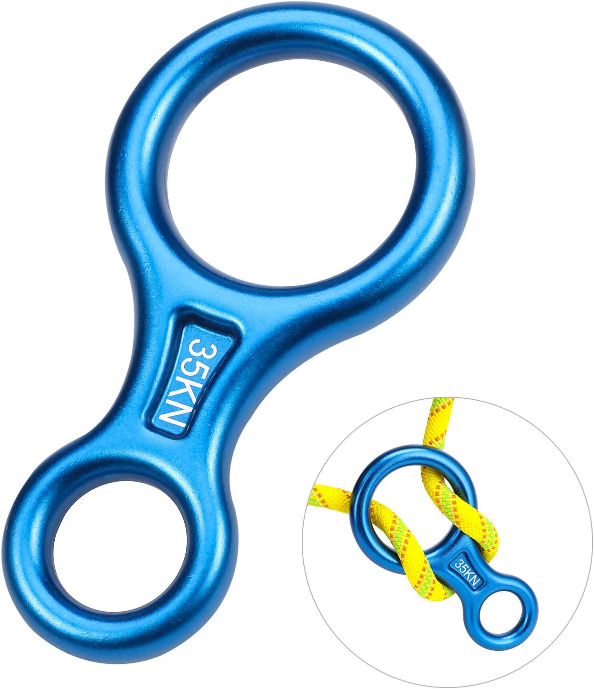 Oumers Rappel Gear Downhill Ring Equipment, Figure 8 Descender Rappel Rock Climbing Descending Belaying Equipment Rappel Device for Outdoor Recreation, Strong Safe Durable, Blue