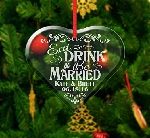 WeddingLove Couple Hearts Just Got Married Personalized Christmas Tree Ornament