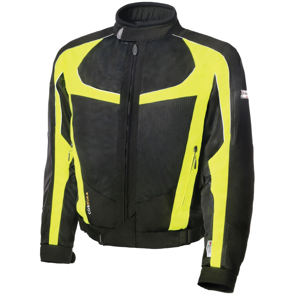 Olympia Moto Sports Men's Switchback 2 Mesh Tech Jacket (Black/Neon Yellow, X-Large)