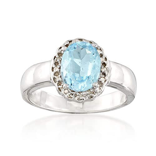 cbb7fc71f Image Unavailable. Image not available for. Color: Ross-Simons 2.30 Carat Blue  Topaz Ring With White Topaz Accents in Sterling Silver