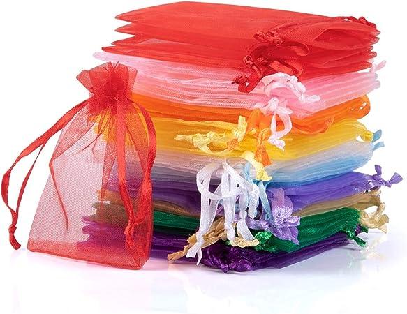 10 Stck Organzasäckchen 7x9 cm Organzabeutel 10-farbig Geschenk