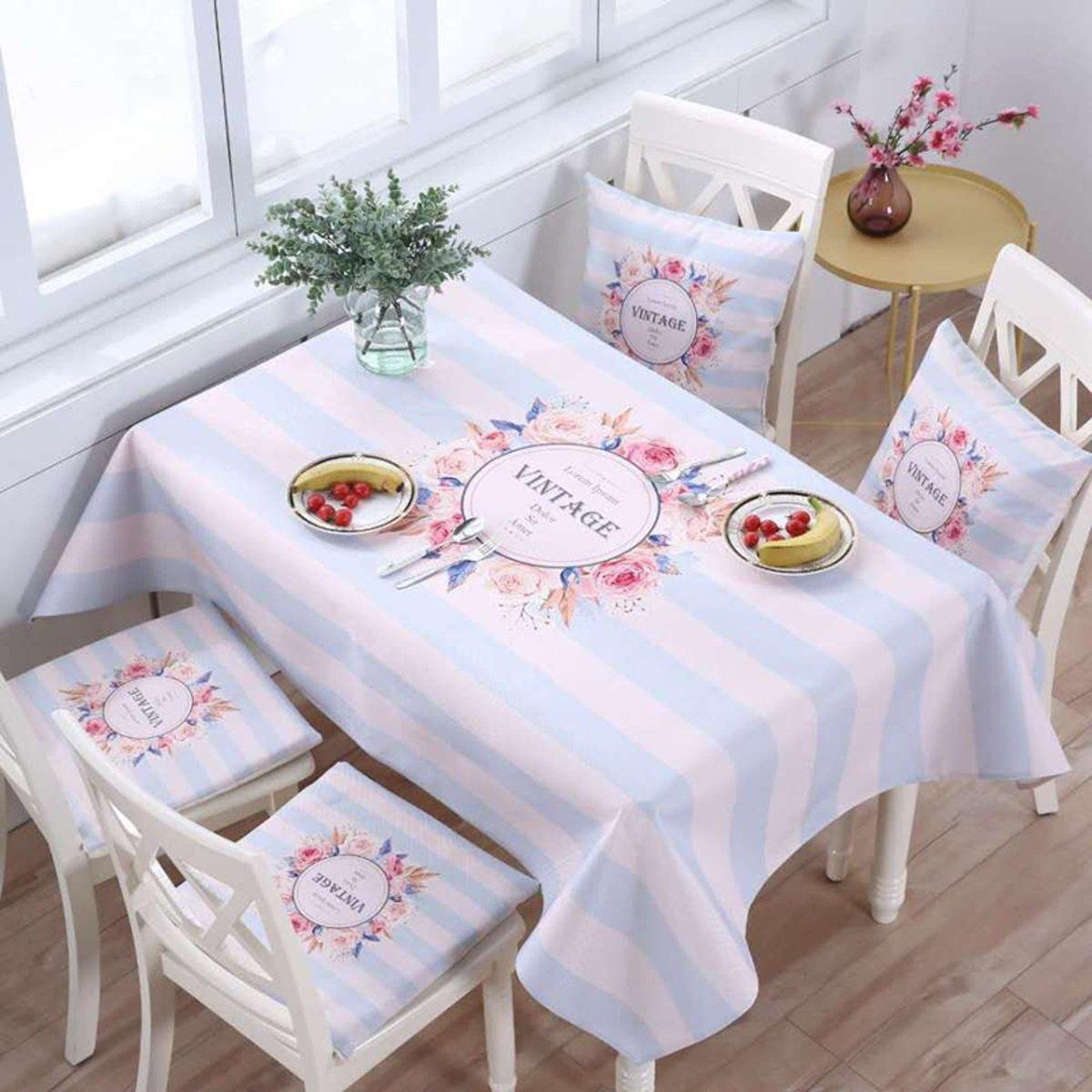 T 140220cm (55.186.6in) TAO Nappe Tissu Coureurs Thé Table Tissu Coton Tissu Tissu Table Bureau Maison Décor à La Maison Rectangle Dessin Animé Salon (Couleur   J, taille   140180cm (55.170.9in))