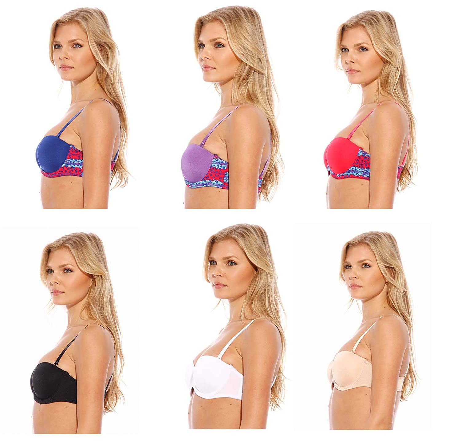 Petite to Plus Size Full Figure Just Intimates Bras for Women Pack of 6