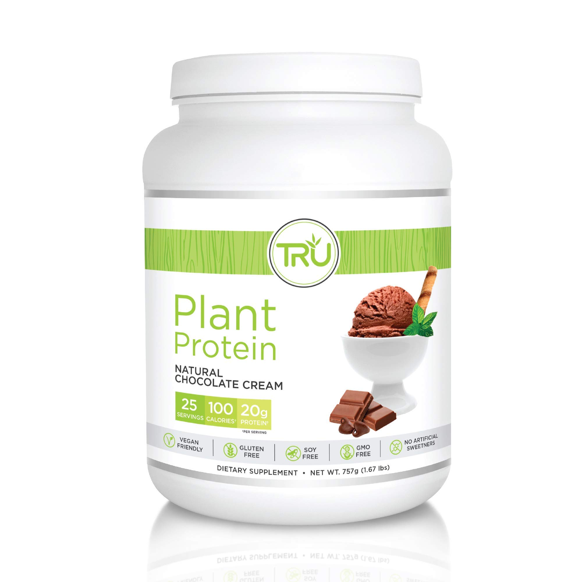TRU Plant Based Protein Powder, Natural Flavor, Vegan & Keto Friendly, No Artificial Sweeteners, No Dairy, No Soy, 25 Servings (Natural Chocolate Cream)