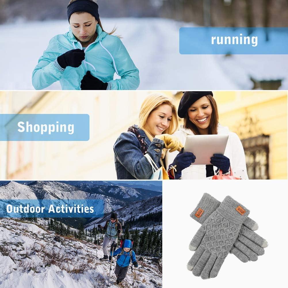 Outdoor Aktivit/äten Warme Sports Handschuhe f/ür Texting Touchscreen Winterhandschuhe Radfahren Winter Strick Handschuhe Warme Fahrradhandschuhe mit Weichem Futter Elastische Manschette