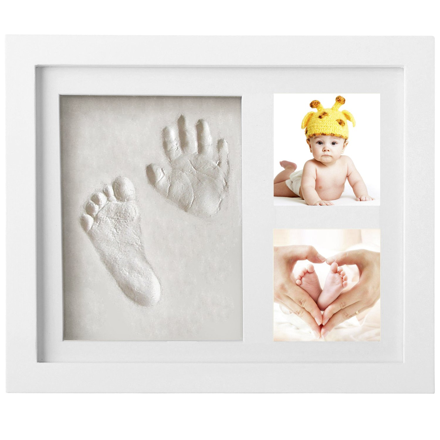 Newlemo Baby Handprint and Footprint Photo Frame Kits Baby Christening Keepsake For Newborn Girls and Boys Baby Shower Presents (3 grids, white) NL-002