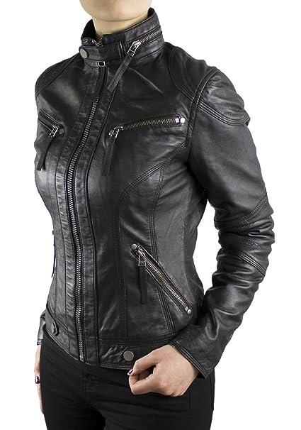 Lederjacke-de - Chaqueta - Biker - para mujer negro XXX-Large: Amazon.es: Ropa y accesorios