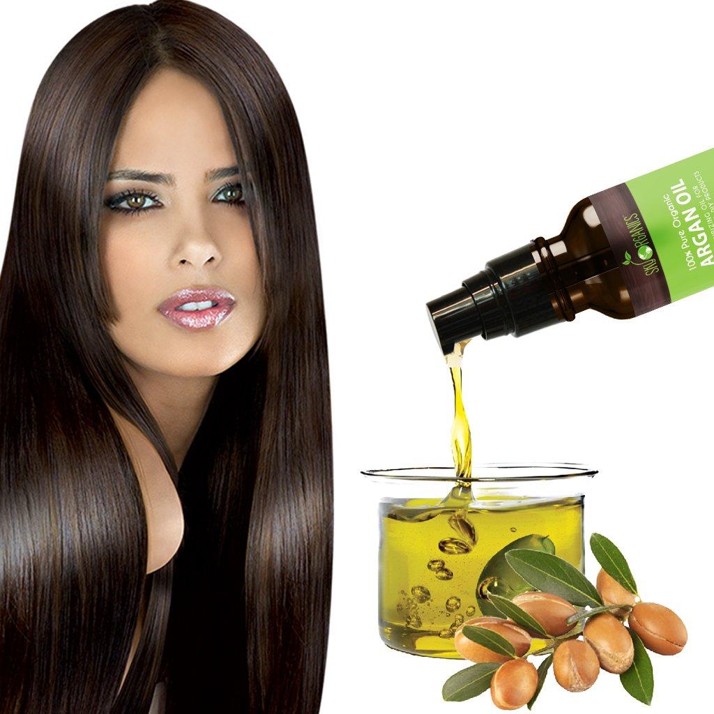 Sky Organics Aceite de Argán orgánico: sin refinar 100% puro, 120 ml de aceite de argán prensado en frío - Hidratación y reparación para piel seca, cabello, ...