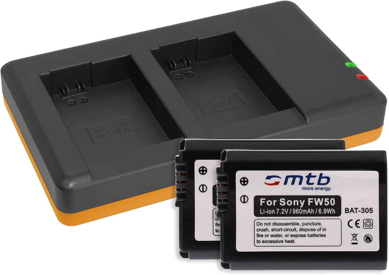 2 Akkus Dual Ladegerät Für Sony Np Fw50 Kamera
