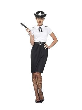 Smiffys Disfraz de Mujer policía británica, Negro, con Vestido, Gorra, cinturón y porra