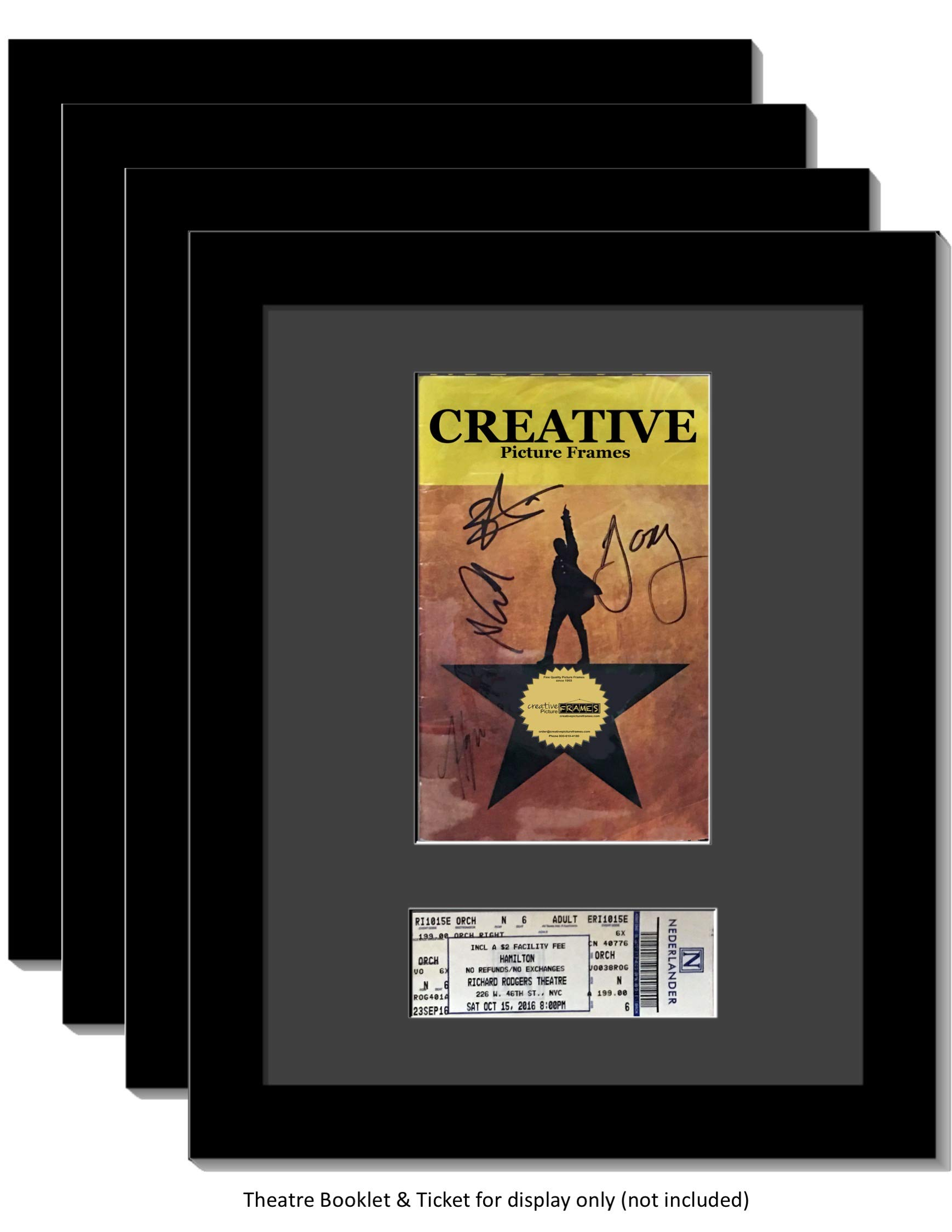 CreativePF [4pk11x14-b] Black Theatre Frame with Black Matting, Holds 5.5x8.5-inch Media Plus Ticket Including Installed Wall Hanger (Theatre Bill Not Included, Pack of 4)