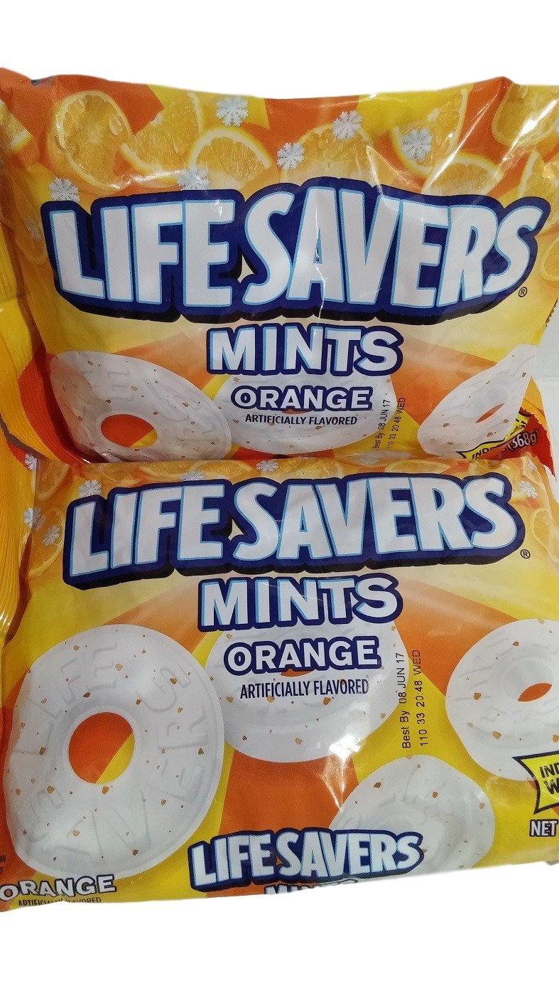 Lifesavers Orange Mints - 13 oz bag - Individually Wrapped (Pack of 2)