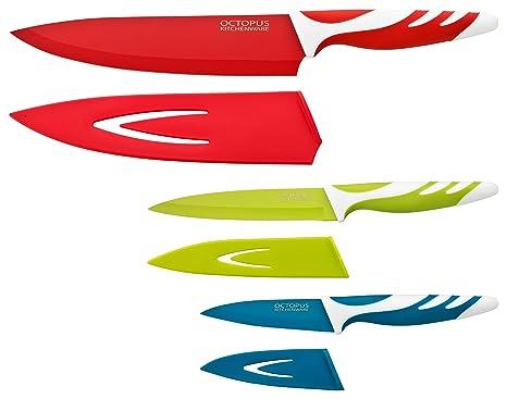 Juego de cuchillos de cocina con fundas protectoras – Set de 3 cuchillos de cocina de calidad - Cuchillo cocinero, Cuchillo multiuso y Cuchillo ...