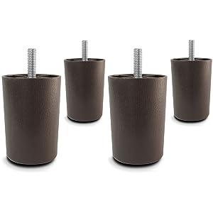 Choice Parts - 3 Inch Dark Walnut Plastic Tapered Sofa Legs, Set of 4