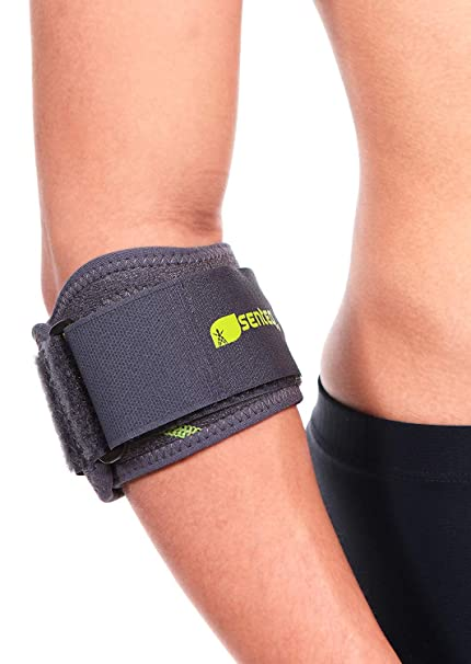 09778354a8 SENTEQ Elbow Brace Support Strap - Tennis & Golfer's Elbow Strap Band.  Relieves Tendonitis and