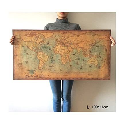 Amazon choose size the old navigation world map huge large choose size the old navigation world map huge large vintage style retro paper poster home gumiabroncs Image collections
