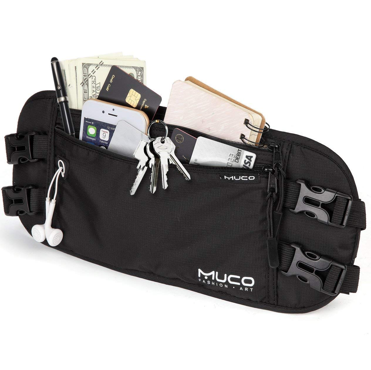 MUCO Travel Money Belt, Hidden Passport Holder, RFID Blocking Travel Wallet Belt Men and Women by MUCO